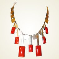 Art Deco Square Chrome Red Dangle Machine Age Industrial Necklace