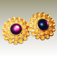 Haute Couture Designer Honeycomb Amethyst Earrings on FINAL REDUCTION
