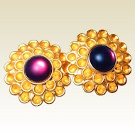 Haute Couture Designer Honeycomb Amethyst Earrings