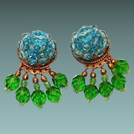 Coppola e Toppo, Made in Italy, Aqua and Green Crystal Dangle Drop Earrings
