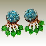 Final REDUCTION: Coppola e Toppo, Made in Italy, Aqua and Green Crystal Dangle Drop Earrings