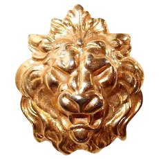 Roaring Lion Face Brooch FINAL REDUCTION SALE Contoured Gold-tone Figural