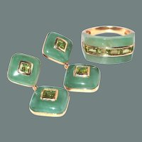 50% off Shop at Home Sale  Gold Jade Peridot Ring Drop Post Earring