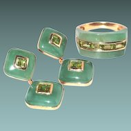 14kt Gold Jade Peridot Ring Drop Post Earring Set