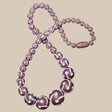 French Geometrically Carved Plastic Catalin Beaded Necklace in Plum