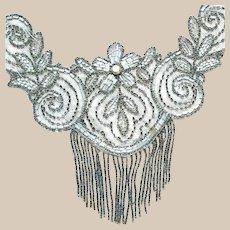 Handmade Art Deco Glass Bead Trim Applique with Fringe