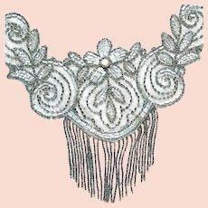 Handmade Art Deco Glass Bead Applique with Fringe