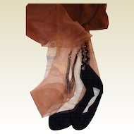 1950s Rhinestone and Black Accented Nylon Hosiery Guarder Stockings