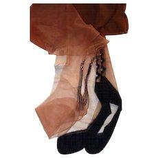 1950s Rhinestone and Black Accented Nylon Hosiery Guarder Stockings