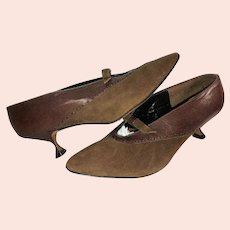 Art Deco Designer Shoes Pump Style in Brown Leather/Suede Size 8