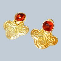 Designer Mary McFadden Egyptian Style Earrings Last Chance SALE