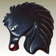 Black Bakelite Horse Head Deeply Carved and Painted Book Piece FINAL REDUCTION SALE
