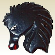 Shop our BLOWOUT SALE Black Bakelite Horse Head Deeply Carved and Painted Book Piece