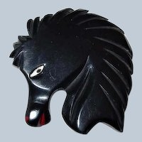 Black Bakelite Horse Head Deeply Carved and Painted Book Piece