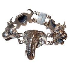 African Animal Sterling Silver Bracelet: Lion Leopard Rhinoceros Elephant Water Buffalo