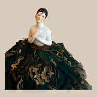 Pierrot German Half Doll Pin Cushion Original 1920s Gown