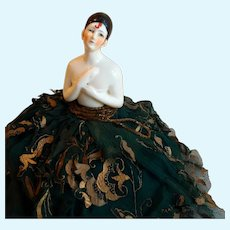Pierrot German Half Doll Pin Cushion Original 1920s Gown