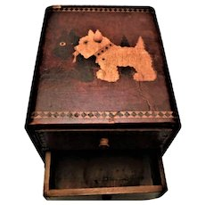 Inlaid Wooden Scottie Dog Vanity/Jewelry Box