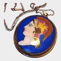 Antique Limoges Portrait Pendant Hand Painted Cameo Gold Griffin Blue Porcelain