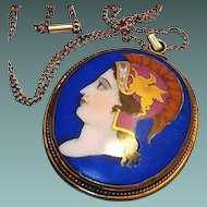 Georgian Limoges Portrait Pendant: Hand Painted Cameo Gold Griffin Blue Porcelain