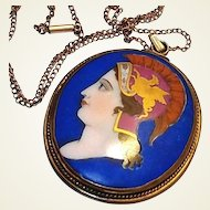 Georgian Limoges Portrait Pendant Hand Painted Cameo Gold Griffin Blue Porcelain