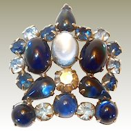 Final REDUCTION SALE Blue Weiss Cabochon Crown Brooch, Book Piece
