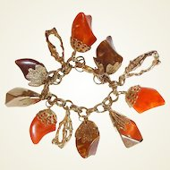 Lucite Charm Bracelet FINAL REDUCTION SALE Chucks of Orange Brown Gold
