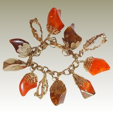 Lucite Charm Bracelet FINAL REDUCTION SALE Chucks of Orange Brown Gold