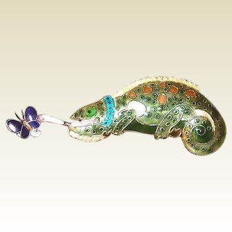 Chinese Lizard Pin Catching Butterfly Enameled Sterling