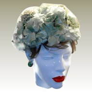 Green Floral Millinery Pillbox Style Hat FINAL REDUCTION SALE