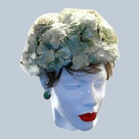 Last Chance SALE Green Floral Millinery Pillbox Style Hat