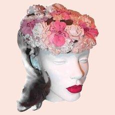 BIG SALE Pink Millinery Flower Hat Velvet and Silk Flowers
