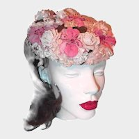 Pink Millinery Flower Hat Velvet and Silk Flowers