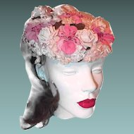 Pink Millinery Flower Hat with Velvet and Silk Flowers