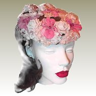 Pink Millinery Flower Hat FINAL REDUCTION SALE Velvet and Silk Flowers