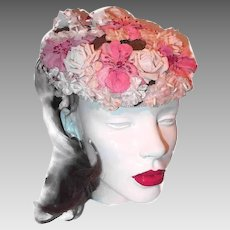Vintage 1960s showy easter bonnet hat floral pink silk flowers with pink millinery flower hat with velvet and silk flowers mightylinksfo