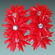 Red Plastic Flower Runner Earrings