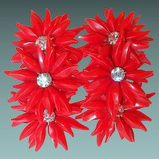 Red Plastic Flower Runner Earrings