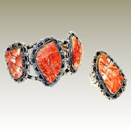 Navajo American Indian Calvin Toddy Sterling Set Spiny Oyster Ring Cuff FINAL REDUCTION SALE