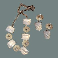 Clear Lucite Chunk Ice Cube Necklace Drop Earring Set 50% off Shop from Home Sale