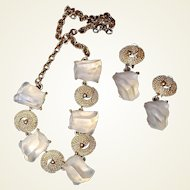 Clear Lucite Chunk Ice Cube Necklace Drop Earring Set FINAL REDUCTION SALE