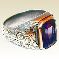 Chinese Foo Dog Figures Purple Synthetic Sapphire Gold Sterling Mens Ring