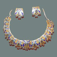 50% off Shop at Home Sale Sterling Enamel Natural Ruby Peacock Mogul Necklace Earring Set