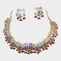 Sterling Enamel Natural Ruby Peacock Mogul Necklace Earring Set