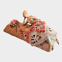 German Porcelain Lounging Half Doll Tapestry Pin Cushion