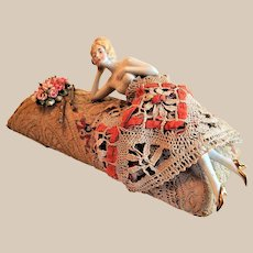 German Porcelain Lounging Half Doll Tapestry Pin Cushion