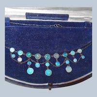 Last Chance SALE Gorgeous Victorian Festoon Opal Necklace in Original Box