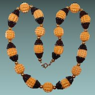 Early Plastic Butterscotch Bead Necklace with Black Tulip Spacers