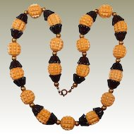 Early Plastic FINAL REDUCTION SALE Butterscotch Bead Necklace with Black Tulip Spacers