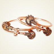 10K Solid Gold Victorian Crossover Bracelet Set in Etruscan Style